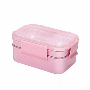 AMAZACER JKLKL double couche Déjeuner en acier inoxydable grande capacité à micro-ondes Boîte à lunch isolée Boîte à lunch Boîte verte, Convient for pique-nique Bureau scolaire moyen (Color : Pink)