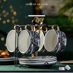Beacher Tasses en céramique et soucoupes os Tasse de café de Porcelaine Set après-midi à thé Tasse à thé en Porcelaine Noire et Une cuillère,Four Cups and Saucer