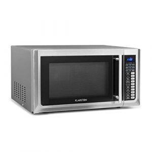 Klarstein Brilliance Pro – Micro-ondes 1500W, Fonction grill 1250W, Chaleur tournante 2150W, Volume 43L, 9 programmes, Écran tactile, env. 20kg, assiette, plaque de cuisson, rouleau, Argent