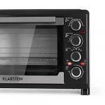 Klarstein Masterchef 38 • Mini Four • 1600 W de puissance • Grill avec fonction rôtissoire • Volume 38 L • 2 plaques chauffantes jusqu'à 3200 W • Température: 0-500 ° C • Acier inoxydable • noir