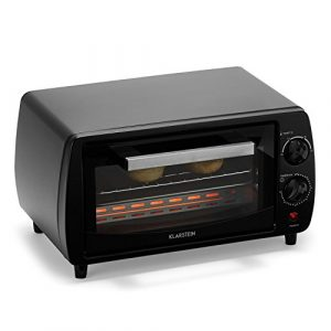 Klarstein Minibreak – Mini four ultra compact 11L avec minuterie et température jusqu'à 250°C (800W, plaque et grill, 2 éléments de chauffe)
