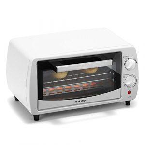 Klarstein Minibreak – Mini four ultra compact 11L avec minuterie et température jusqu'à 250°C (800W, plaque et grill, 2 éléments de chauffe) – blanc