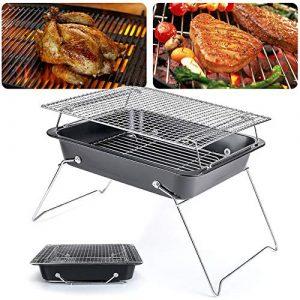 LJYLF Portable Camping Gril, Pliant Compact Acier Inoxydable Charbon Barbecue Grill pour Pique-Nique, Sac à Dos, Backyards, Survie