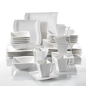 MALACASA Flora 36pcs Service de Table Porcelaine 6pcs pour Assiettes Plates, Assiettes à Dessert, Assiettes Creuses, Tasses avec Soucoupes, Bols à Céréales Vaisselles pour 6 Personnes