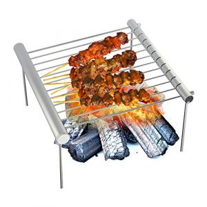 Mini Pique-Nique Barbecue Four Rack en Plein Air Voyage Camping Portable Barbecue Grill en Acier Inoxydable Simple Tube Détachable BBQ Stent