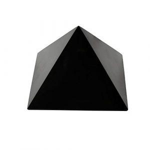 Pyramide en Shungite Polie 10 cm, Contient des Fullerènes pour une Protection Contre les Ondes Électromagnétiques   Figure en Pierre Shungite Anti-radiation Authentique de Carélie (Russie)   10 cm