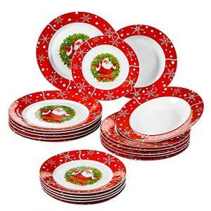 SANTACLAUS, 18 pièces de Plates, 6 assietes Plates, 6 Assiettes Creuses, 6 Assiettes à Dessert, en Porcelain