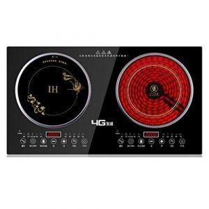 Sooiy Nouvelle Double cuisinière à Induction 2200 W / + cuisinière à Induction plaques de brûleur de cuisinière en céramique électriques Chauds Deux têtes Double,A