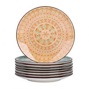 vancasso, série Tulip, Assiette à Dessert, en Porcelaine Colorée, 8 Pièces, Style Marocain – 21 cm