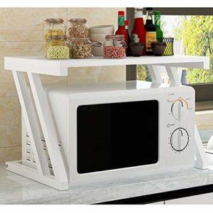 Four à micro-rack étagères de cuisine Accueil Micro-ondes Pied double couche Support de rangement Assaisonnement Four Shelf MMD (Color : White)