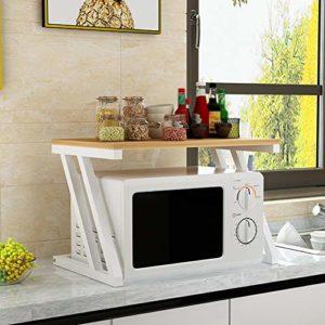 Four à micro-rack étagères de cuisine Accueil Micro-ondes Pied double couche Support de rangement Assaisonnement Four Shelf MMD (Color : Yellow)