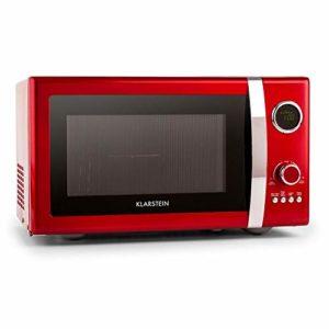 Klarstein Fine Dinesty – Four Micro-ondes, Fonction grill de 1000W, 12 programmes, 800W, Minuterie, Trois modes, Plateau tournant, Ecran digital, 23L de capacité, Rouge