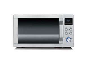 SEVERIN Micro-ondes 3-en-1, 900 W, Avec gril et fonction air chaud, Avec plateau rotatif, Gril et plaque à pizza, MW 7754, Acier inoxydable/Noir