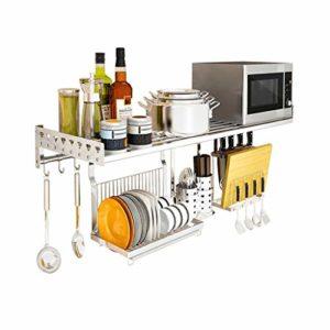 Liyanjin Étagère de cuisine multifonction en acier inoxydable pour four à micro-ondes 80 x 35 x 14 cm, Métal, 80 cm