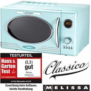 Melissa Rétro Micro-ondes 900 W / 25 litres/Micro-ondes design avec grill Menthe poivrée