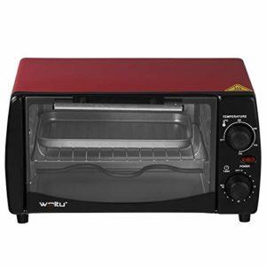 WOLTU BF08rt Mini Four à Pizza 12 litres Porte à Double vitrage avec Plaque de Cuisson et rôtissoire avec minuterie 0-250 ° C 800W,Rouge