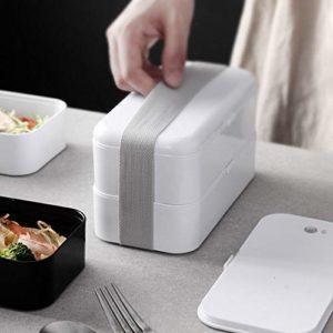 YBNB Étanche Boîte À Lunch, Vaisselle Réutilisable, Boîte À Lunch Double Étanche PP Plastique Micro-Ondes Combiné Four Étanche, Congélateur, Lave-Vaisselle Convivial,Blanc