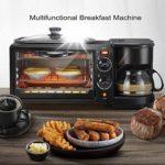 3 Dans 1 grille-pain machine petit-déjeuner cafetière cuisinière oeuf four à œufrier avec mini four en acier inoxydable compact pour petit four grillage 9L avec un timing 30min / oeufs d'.