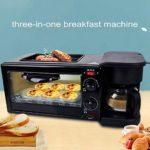 3 In1Frühstücksmaschine Grille-pain œufrier œufrier avec mini four en acier inoxydable compact Petit-déjeuner four pour griller avec un timing 30min / oeufs d'ébullition/Omelette/cuis.