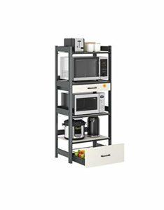 Étagère de cuisine Z-GJM – Étagère de rangement multi-couches en aluminium – Pour four à micro-ondes, four à micro-ondes – Cinq niveaux d'agrandissement – Installation sur la cuisine