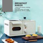MOLLYNANA Petit déjeuner Toasteur 3In1Backofen œufrier d'oeuf avec mini four en acier inoxydable café Compact 6L Petit déjeuner enfournement Temps 60min pour griller/cuisson des oeufs/omel.