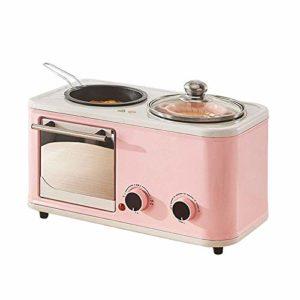 NIHAOA Barbecue Micro-Ondes Grille-Pain Multifonctions, 3-en-1 Multifonction Petit déjeuner Hub (Grille-Pain, Diamètre Griddle Pan, Soupe épaisse Pot), Rose