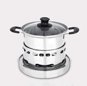 NIHAOA Barbecue Micro-Ondes Shabu Shabu en Acier Inoxydable extérieur Switch feu Portable Simple Buffet Petit Pot, 16,5 cm (Couleur: 16.5cm) (Color : 14.5cm)