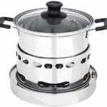 NIHAOA Barbecue Micro-Ondes Shabu Shabu en Acier Inoxydable Hot Pot d'extérieur Buffet shabu-Foyer Foyer Furnace, Argent-14.5cm (Couleur: Argent, Taille: 14.5cm) (Color : Silver, Size : 16.5cm)
