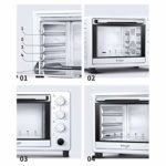 Toaster oven Four Compact De 25 L Comprenant Un Plateau De Cuisson, Un Filet De Grillage Et Un Plateau À Scories, Une Poignée De Grillage 1400 W (Blanc Lait)