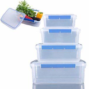 ACCLD Lot de 4 boîtes de conservation en plastique pour aliments et fruits Grande capacité Convient pour le chauffage au micro-ondes
