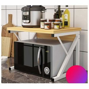 Accueil Cuisine Cuisine Enfilade Support de Rangement Au Sol Multi-Couche Simple Assaisonnement Support de Rangement Micro-Ondes Rack Support de Rangement 54X35X36cm