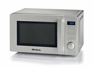 Ariete 953, four à micro-ondes numérique, 20 litres, chauffage, cuisson et décongélation, 5 niveaux de puissance, 8 modes de cuisson préréglés, plat tournant 25,5 cm, minuterie 95 minutes, argent