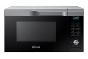 Samsung Mc28M6055Cs/Ec–Four à micro-ondes avec grill de 28l, intérieur en céramique, fenêtre EasyView et fonction four jusqu'à 200°C, 2100W, Gris