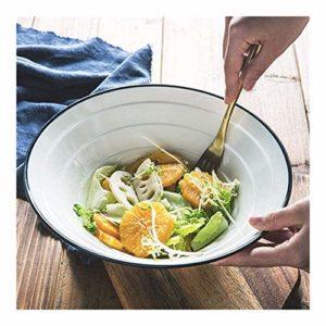 Ramen Bowl de style japonais Grand Bowl Set Extra Large soupe Ramen Noodle Bowl fruits Salade de pâtes à usages multiples Bol créatif Vaisselle en céramique Four à micro-ondes Coffre-fort fil blanc