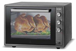 ICQN 70XXL Mini-Four   1800 W   Four a poser avec chaleur tournante , 5 fonctions   Four à pizza   Double vitrage   Minuterie Mécanique   Cavité en émaillée Noir