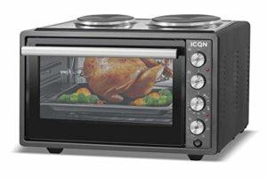 ICQN Mini four 42 L avec 2 plaques de cuisson et circulation d'air | 3800 W | Intérieur | Four à pizza | Grille de cuisson | Réglage individuel de la température | émaillée | Cuisine et pâtisserie