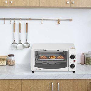 WOLTU BF08ws Mini Four à Pizza 12 litres Porte à Double vitrage avec Plaque de Cuisson et rôtissoire avec minuterie 0-250 ° C 800W,Blanc